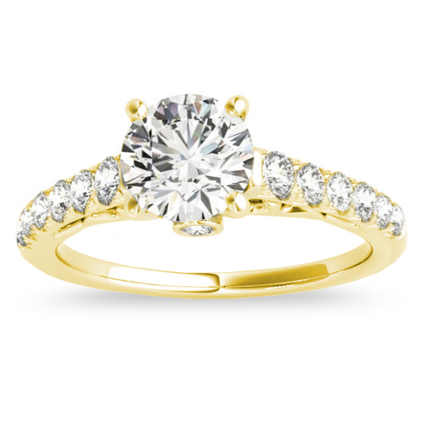 Semi Eternity Diamond Engagement Ring Cathedral 14k Yellow Gold 0.38ct