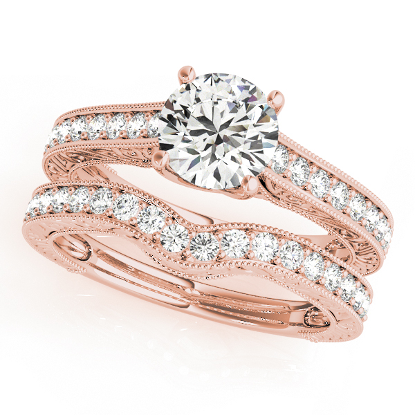 Vintage Diamond Engagement Ring Bridal Set 14k Rose Gold (2.50ct)