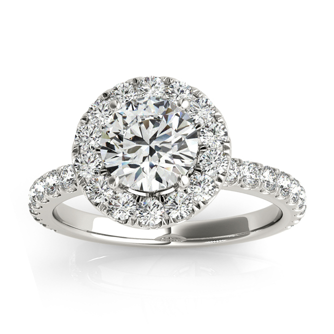Allurez French Pave Halo Diamond Engagement Ring Setting ...