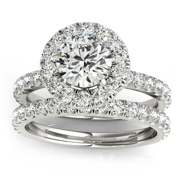 Allurez French Pave Halo Diamond Bridal Ring Set 14k Whit...