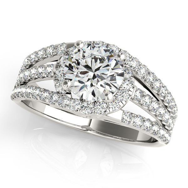 Wide Triple Band Diamond Engagement Ring 14k White Gold 2 13ct
