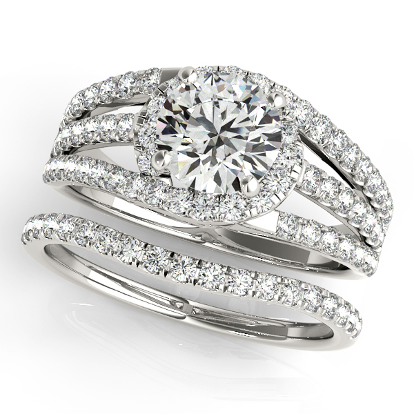 Triple Band Diamond Engagement Ring Bridal Set 14k White Gold 2 33ct