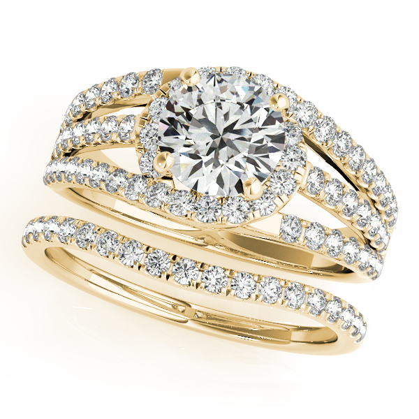 Triple Band Diamond Engagement Ring Bridal Set 18k Yellow Gold 2 33ct