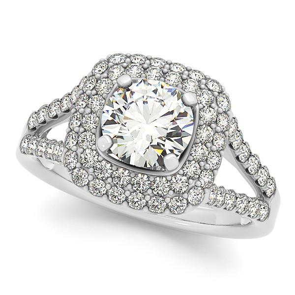 Split Shank Square Halo Diamond Engagement Ring 14k White Gold 2ct