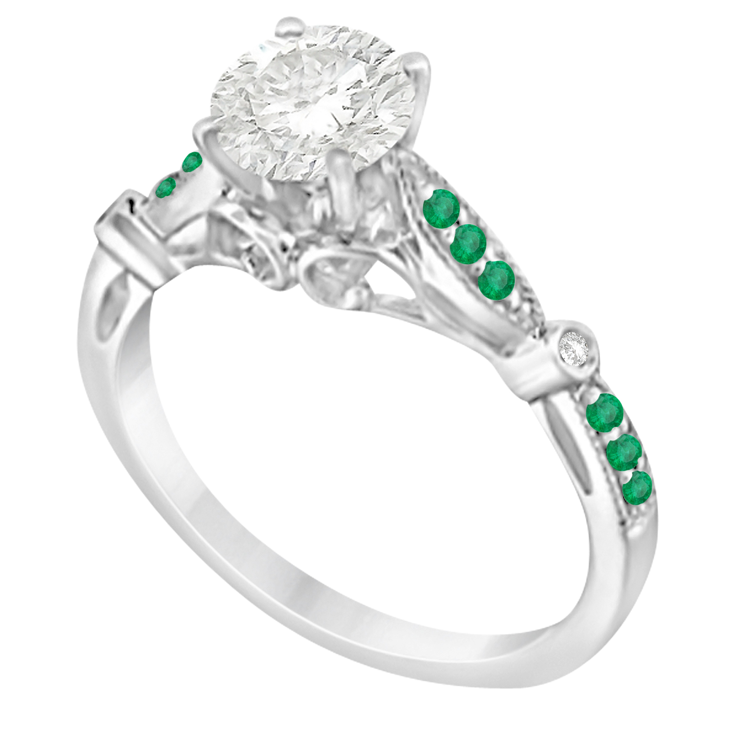 Marquise & Dot Emerald Vintage Engagement Ring 14k White Gold 0.13ct