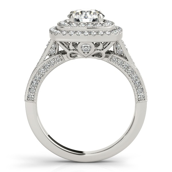Square Double Halo Diamond Engagement Ring 14k White Gold 2.00ct