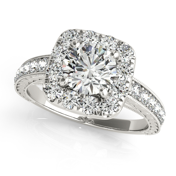 Square Halo Diamond Engagement Ring Vintage Style 14k W Gold 1 00ct