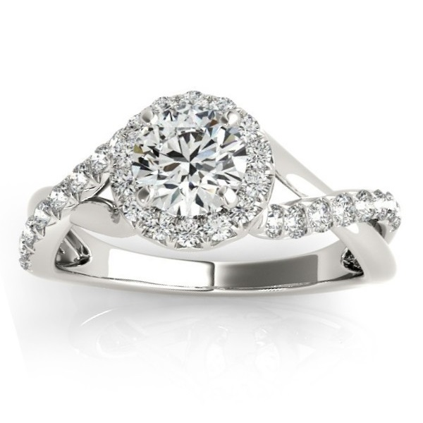 Diamond Twisted Halo Engagement Ring Setting in Platinum (0.33ct)