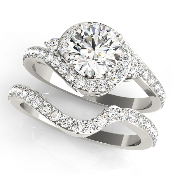 Halo Swirl Diamond Accented Bridal Set Platinum (1.29ct)