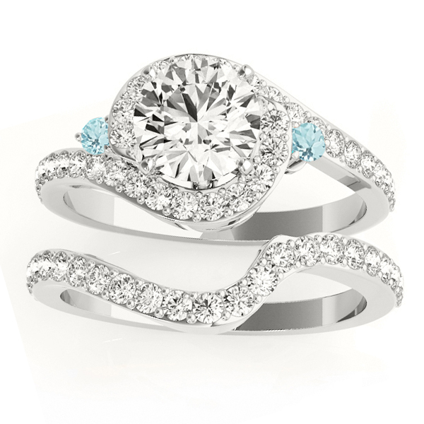Halo Swirl Aquamarine and Diamond Bridal Set Platinum (0.77ct)