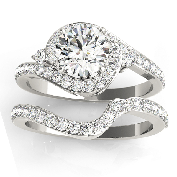 Diamond Halo Swirl Bridal Set Setting Platinum (0.77ct)