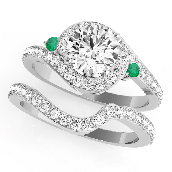 Halo Swirl Emerald and Diamond Bridal Set Platinum (0.77ct)