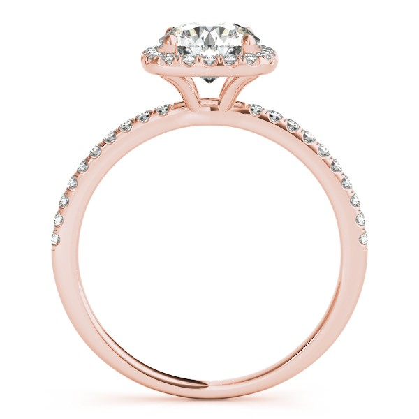 Square Halo Diamond Engagement Ring Setting in 14k Rose Gold 0.20ct