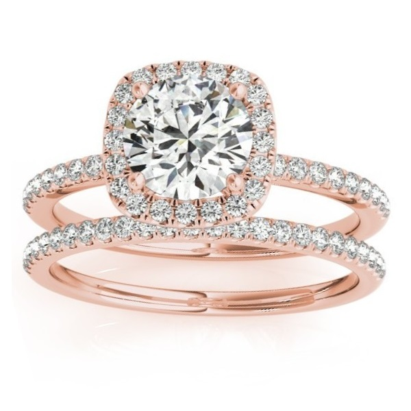 Square Halo Diamond Bridal Set Ring Setting & Band 14k Rose Gold