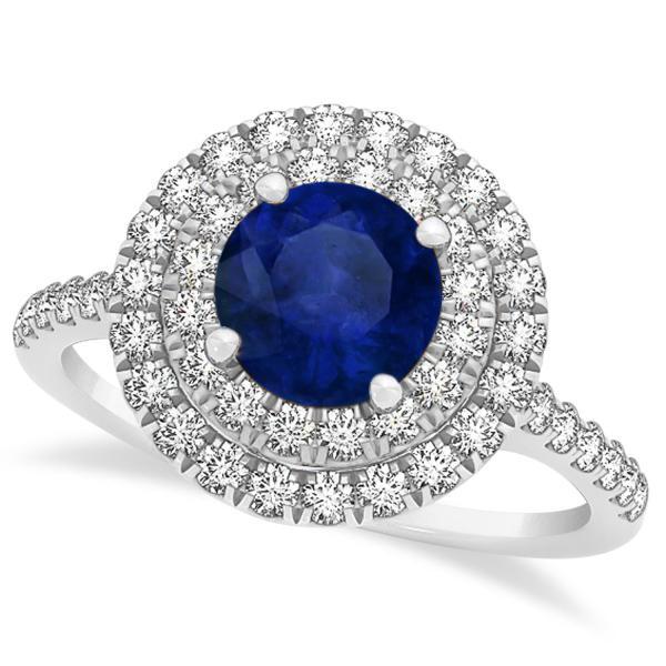 Allurez Double Halo Round Blue Sapphire Engagement Ring 1...