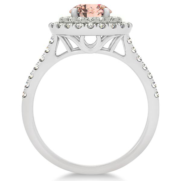 Double Halo Round Morganite Engagement Ring 14k Two-Tone Gold (1.42ct)
