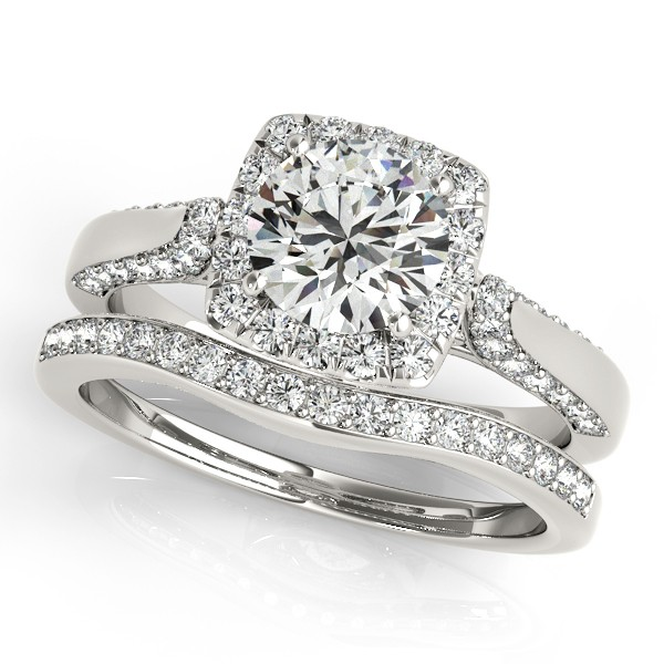 Diamond Accented Square Halo Ring Band Bridal Set 14k W Gold 125ct