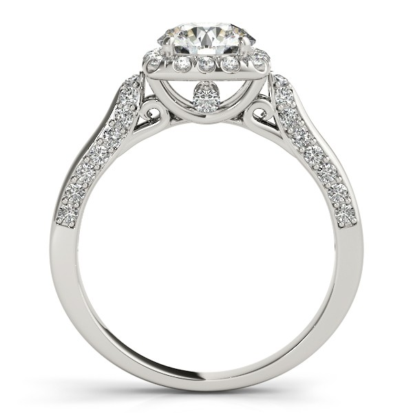 Diamond Accented Square Halo Ring & Band Bridal Set 14k W. Gold 1.25ct