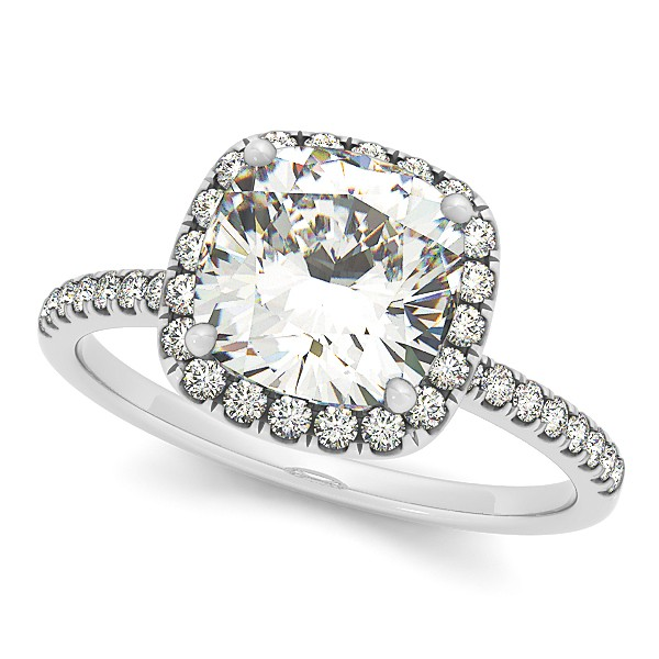 Allurez Cushion Diamond Halo Engagement Ring French Pave ...