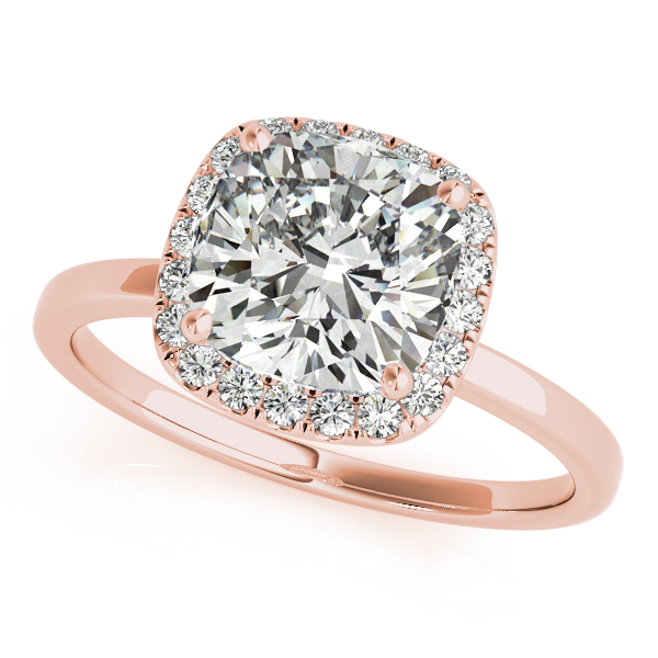 f8c275c04935f Cushion Solitaire Diamond Halo Engagement Ring 18k Rose Gold (1.00ct)