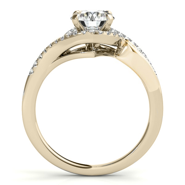 Swirl Shank Bypass Halo Diamond Engagement Ring 14k Yellow Gold 0.20ct