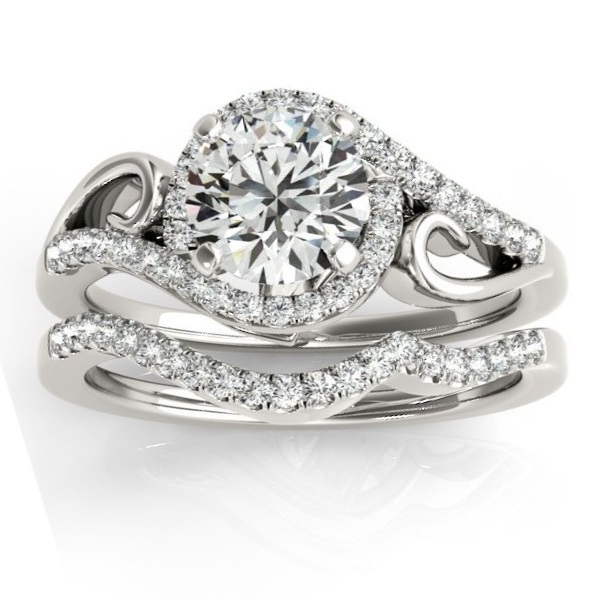 Allurez Diamond Swirl Engagement Ring and Band Bridal Set...
