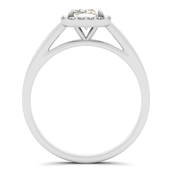Emerald Cut Diamond Halo Engagement Ring in 14k White Gold (1.17ct)