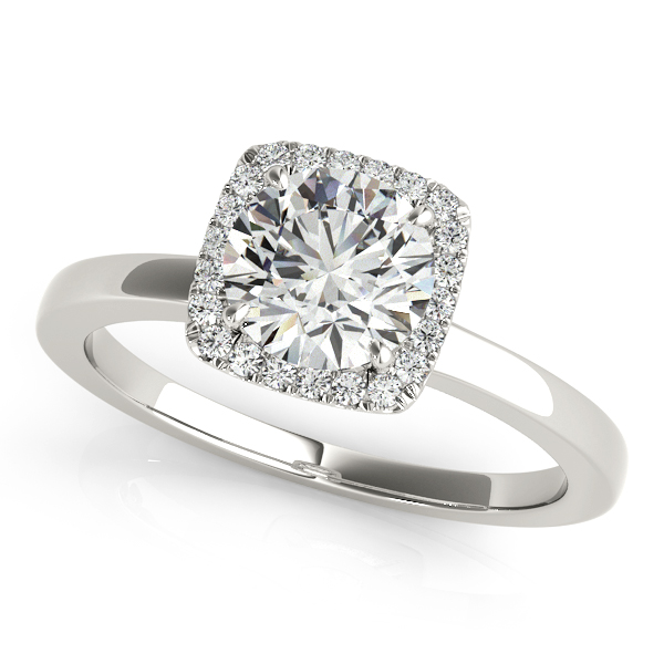 Diamond Square Solitaire Halo Engagement Ring 14k White Gold 1 12ct