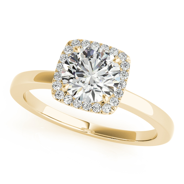 Diamond Square Solitaire Halo Engagement Ring 14k Yellow Gold 1 12ct