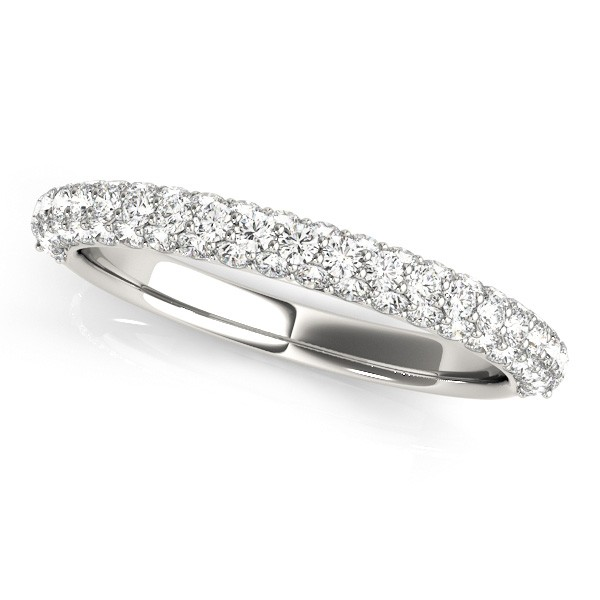 Triple Row Micro-pave\' Diamond Wedding Band 18k White Gold 0.75ct