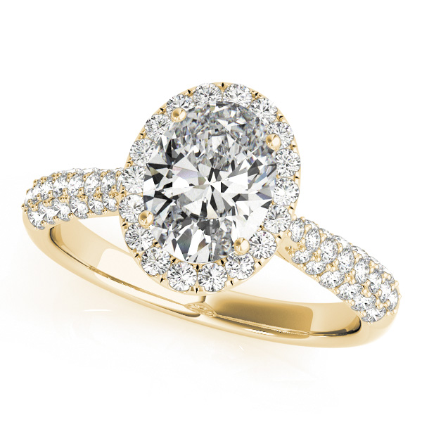 Oval Cut Halo Pave Diamond Engagement Ring 14k Yellow Gold 2 33ct