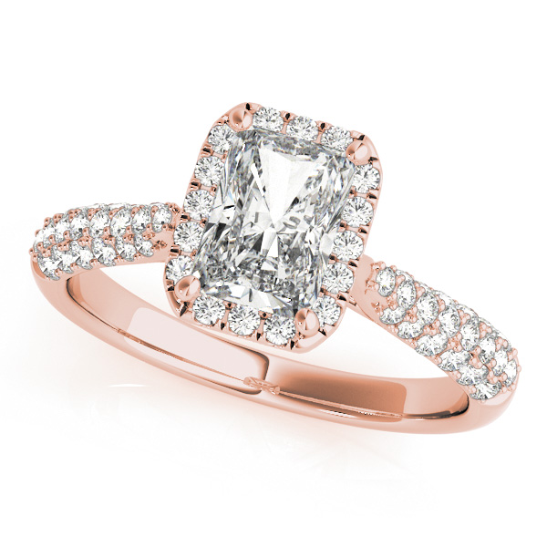 11d887d3b3032 Emerald-Cut Halo pave' Diamond Engagement Ring 18k Rose Gold (2.38ct)