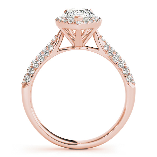 Pear-Cut Halo pave' Diamond Engagement Ring 14k Rose Gold (2.38ct)