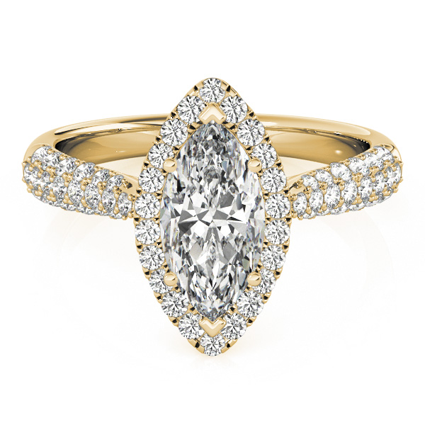 Diamond Marquise Halo Engagement Ring 18k Yellow Gold (2.00ct)