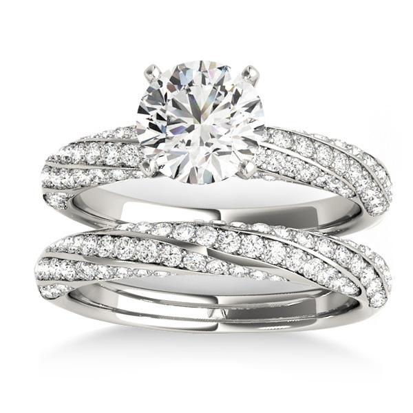 Diamond Twisted Pave Three-Row Bridal Set Platinum (1.11ct)