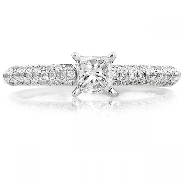 Solitaire Princess Cut Diamond Engagement Ring 14K White Gold (0.50ct)