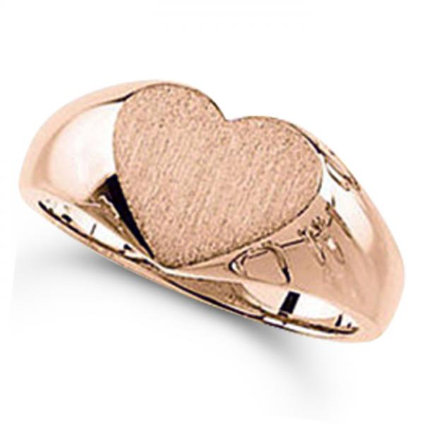 Women's Heart Shaped Signet Ring, Engravable, in Polished 14k Rose Gold