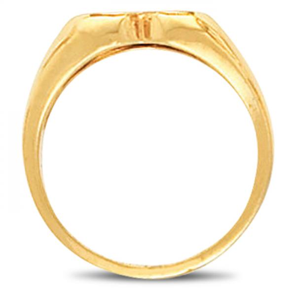 Women's Heart Shaped Signet Ring, Engravable, Polished 14k Yellow Gold
