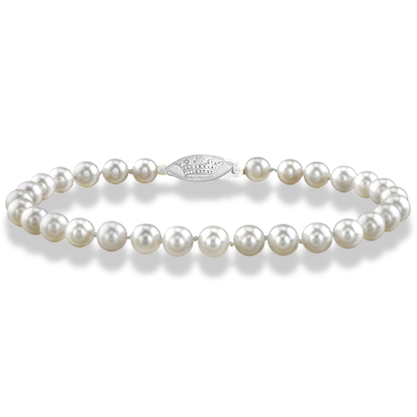 7 inch Akoya Cultured Pearl Bracelet with 14K Gold Clasp 6.0-6.5mm