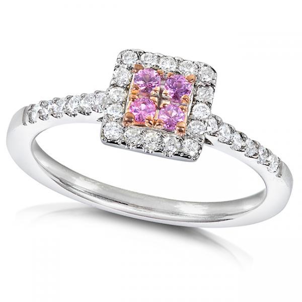 Round Pink Sapphire & Diamond Engagement Ring 14k White Gold (.33ct)