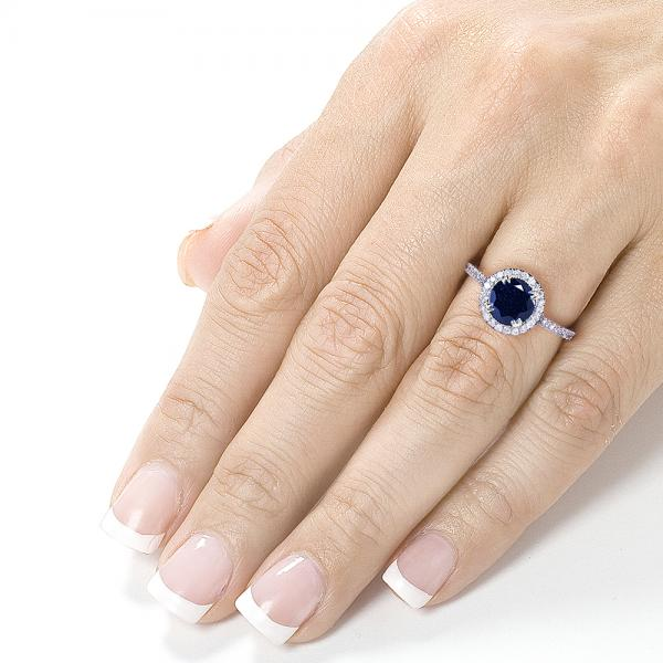 Blue Sapphire Round Diamond Halo Gemstone Ring 14k White Gold (1.50ct)