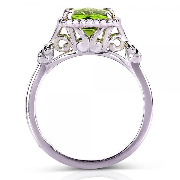 Cushion Peridot Gemstone Cocktail Ring Sterling Silver (2.05ct)