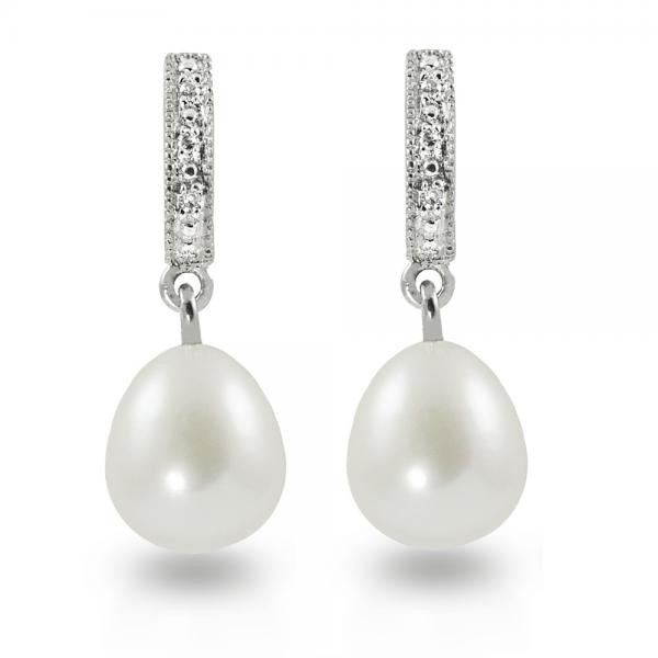 Diamond Accented Freshwater Pearl Drop Earrings Sterling Silver 8-9mm