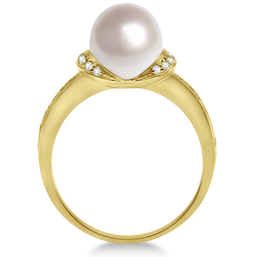 Solitaire Freshwater Cultured Pearl & Diamond Ring 14K Yellow Gold (8mm)