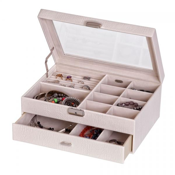 Top Locking Jewelry Box in Pearl Faux Leather, Glass Top, 1 Drawer