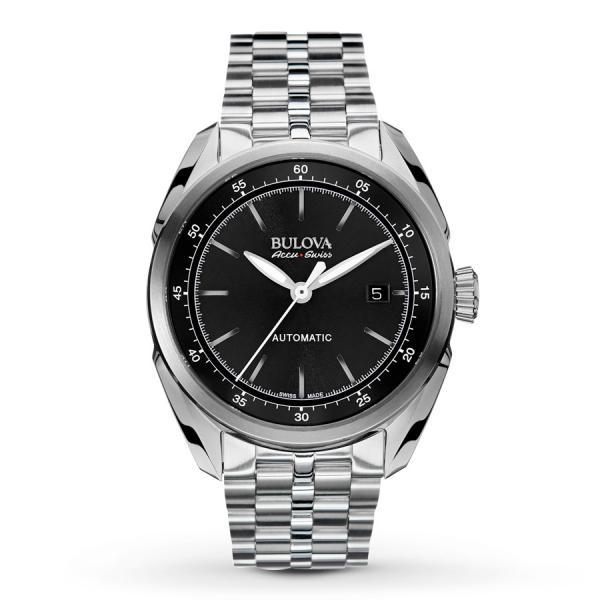 Allurez Men's Bulova Watch Stainless Steel AccuSwiss Automatic w/ Black Dial at Sears.com