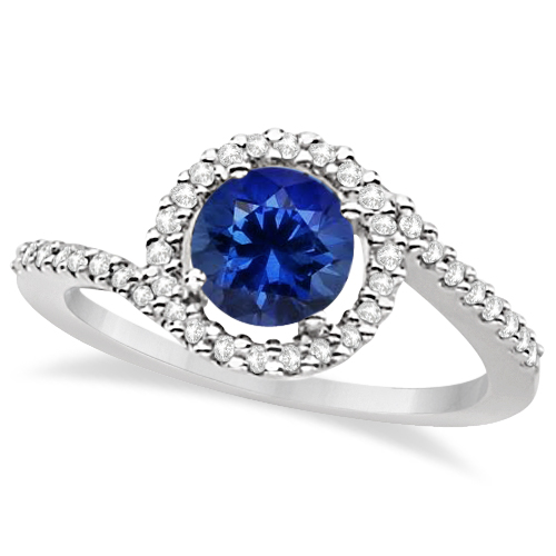 Allurez Twist Diamond and Tanzanite Ring 14k White Gold (...