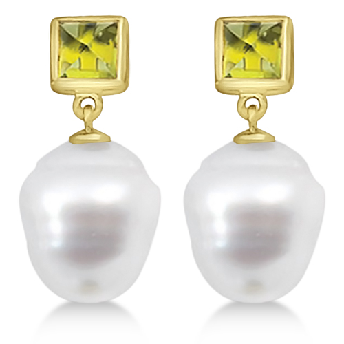 Square Peridot and South Sea Ringed Pearl Earrings 14K Yellow Gold 12mm