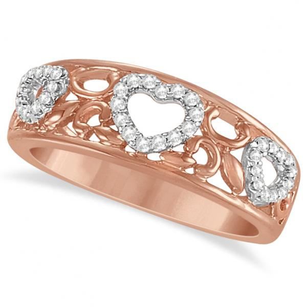 Diamond Heart Ring Band 14K Rose Gold over Sterling Silver 0.17ct