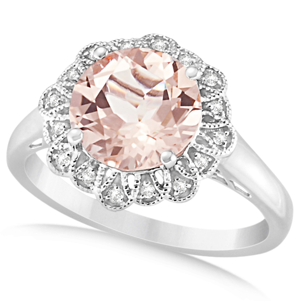 Morganite Engagement Ring Diamond Accents 14k White Gold 2 78ct